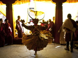 Buddhist Monk Practising His Dance before Taking Part in a Performance at the Gangtey Tsechu at Gan