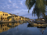 View of Old Town and Fishing Boats Along Thu Bon River  Hoi An  UNESCO World Heritage Site  South C