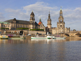 Cruise Ships on the River Elbe  Dresden  Saxony  Germany  Europe