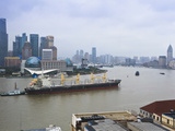 Large Transport Ship and Tug on the Huangpu River That Runs Through Shanghai  China  Asia