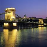 Royal Palace (Budavari Palota) (Buda Castle) and Chain Bridge at Dusk  UNESCO World Heritage Site