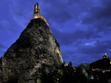 Night View of Floodlit Saint Michel D'Aiguilhe Chapel  Situated on the Top of Volcanic Rock  Le Puy