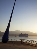 The Raindrop Sculpture and Cruise Ship in Early Morning  Waterfront Near the Convention Centre and