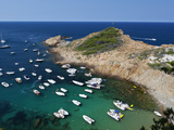 Cove Filled with Pleasure Boats  Sa Tuna  Near Begur  Costa Brava  Catalonia  Spain  Mediterranean