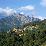 View over Village and Bavella Mountains  Zonza  South Corsica  Corsica  France  Europe