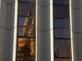 Fishermen's Bastion (Halaszbastya) Reflected in Windows of Hilton Hotel  Buda  Budapest  Hungary  E