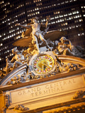 Statue of Mercury and Clock on the 42nd Street Facade of Grand Central Terminus Station  Manhattan