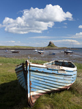 Old Wooden Fishing Boat on a Grassy Bank with Lindisfarne Harbour and Lindisfarne Castle  Holy Isla