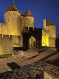 The Turrets at the Main Entrance into Medieval City of La Cite  Carcassonne  UNESCO World Heritage