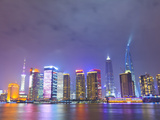 Pudong Skyline at Night across the Huangpu River  Shanghai  China  Asia