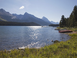 Morning Light on Maligne Lake with Canoes on Shoreline  Jasper National Park  UNESCO World Heritage