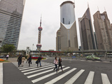 Pedestrian Crossing in Pudong  the Financial and Business Centre Oriental Pearl Tower in Centre  S