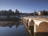 Looking across the River Creuse in the Town of Le Blanc  Indre  Loire Valley  France  Europe