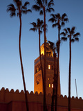 Minaret of the Koutoubia Mosque at Dusk  Marrakesh  Morocco  North Africa  Africa