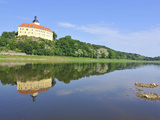 Castle Hirschstein Reflected in the River Elbe  Saxony  Germany  Europe