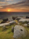 Sunset over Millstones  Froggatt and Curbar Edge  Peak District National Park  Derbyshire  England