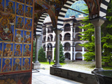 Arcade Murals Depicting Religious Figures  Church of the Nativity  Rila Monastery  UNESCO World Her