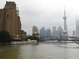 Waibaidu (Garden) Bridge over Suzhou Creek  Pudong Skyline with Oriental Pearl Tower and Shanghai W