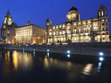 The Three Graces at Dusk  Cunard Building  Port of Liverpool Building  UNESCO World Heritage Site