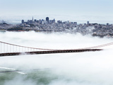 Golden Gate Bridge and the San Francisco Skyline Floating Above the Fog on a Foggy Day in San Franc