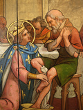Painting Depicting St Louis Washing a Pauper&#39;s Feet in Notre-Dame De Paris Cathedral Treasure Muse