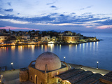 Venetian Harbour and Mosque of the Janissaries at Dusk  Chania (Hania)  Chania Region  Crete  Greek