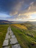 The Great Ridge Pathway  Mam Tor  Hope Valley  Castleton  Peak District National Park  Derbyshire