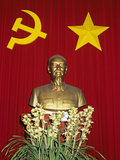 Bust of Ho Chi Minh and Vietnamese Socialist Flag  Vietnam  Indochina  Southeast Asia  Asia