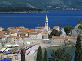 View over Old Town and Bay  Budva  the Budva Riviera  Montenegro  Europe