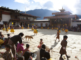 Masked Dance in the Main Courtyard of the Gangte Goemba During the Gangtey Tsechu  Gangte  Phobjikh