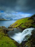 A Waterfall Cascading into the Vestmannasund  Oyrargjogv  Vagar Island  Faroe Islands  Denmark  Eur