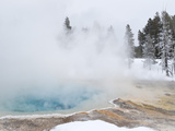 West Thumb Geyser Basin Winter Landscape with Geothermal Spring  Yellowstone National Park  UNESCO