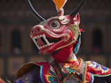Mask Dance Performance at Tshechu Festival  Thimphu Dzong  Bhutan