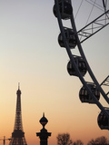Ferry Wheel in Place De La Concorde with Eiffel Tower in the Background Near Sunset  Paris  France