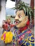Monk Wearing Wooden Mask During Traditional Performance  Wangdue Phodrang Tsechu  Wangdue Phodrang