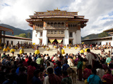 Crowds of Spectators to the Main Courtyard During a Masked Dance  Gangtey Tsechu at Gangte Goemba
