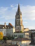 View with Eglise Monolithe Church  St-Emilion  Gironde Department  Aquitaine Region  France