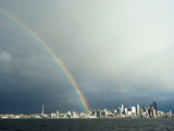 A Rainbow Lands on a Washington State Ferry in the Puget Sound with the Seattle Skyline in the Back