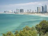 Beach  Skyline and Mediterranean Sea Viewed from Old Jaffa  Tel Aviv  Israel  Middle East