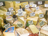 Cheese and Wine for Sale at Market  Florence  Tuscany  Italy