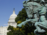 Galloping Horse Sculpture in Civil War Monument  Capitol Building in Distance  Washington Dc  Usa