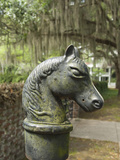 Antique Horse Head Carriage Hitch and Oak Trees in Spanish Moss  Beaufort  South Carolina  Usa