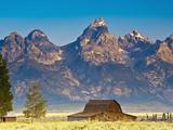 Teton Front Range and Mormon Barn at Sunrise  Grand Teton National Park  Wyoming  Usa