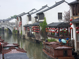 Old Houses Along the Grand Canal in Shantang Street  Old Town of Suzhou  Jiangsu  China