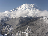 Snow-Covered Mt Rainier and White River  Viewed from Crystal Mountain  Washington  Usa