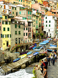 Fishing Boats Line the Launch Site in the Village of Riomaggiore  Cinque Terre  Tuscany  Italy