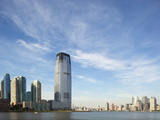 Manhattan Skyline Rises Above Hudson River  Jersey City  New Jersey  Usa