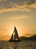 Sailboat at Sunset  Bay of Land's End (El Arco) Cabo San Lucas  Baja  Mexico