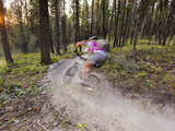 Courtney Feldt Mountain Bikes on Singletrack of the Whitefish Trail Near Whitefish  Montana  Usa