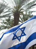 Israeli Flag with Star of David and Palm Tree  Tel Aviv  Israel  Middle East